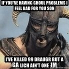 Skyrim Meme Generator - If you're having ghoul problems I feel bad for you son I've killed 99 draugr but a lich ain't one