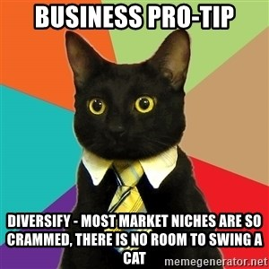 Business Cat - business pro-tip Diversify - most market niches are so crammed, there is no room to swing a cat