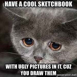 sad cat - Have a cool sketchbook with ugly Pictures in it, cuz you Draw them