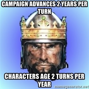 Medieval 2: Total War - campaign advances 2 years per turn characters age 2 turns per year