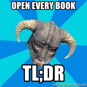 skyrim stan - open every book tl;dr