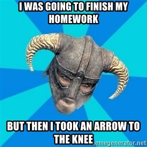 skyrim stan - I was going to finish my homework but then i took an arrow to the knee