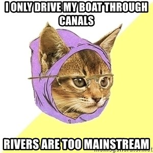 Hipster Kitty - I only drive my Boat through canals Rivers are too mainstream