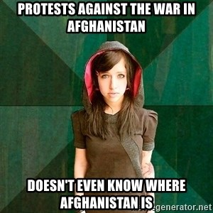 Progressive Girl - protests against the war in afghanistan doesn't even know where afghanistan is