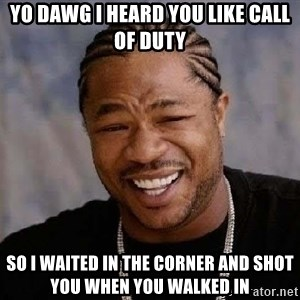 Yo Dawg - yo dawg i heard you like Call of duty so i waited in the corner and shot you when you walked in