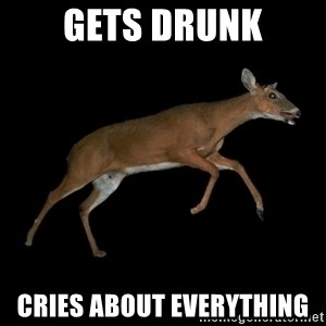 Drama Deer - gets drunk cries about everything