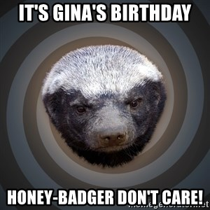 Fearless Honeybadger - It's Gina's birthday honey-badger don't care!