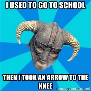skyrim stan - I USED TO GO TO SCHOOL Then i took an arrow to the knee