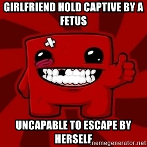 Super Meat Boy - girlfriend hold captive by a fetus uncapable to escape by herself