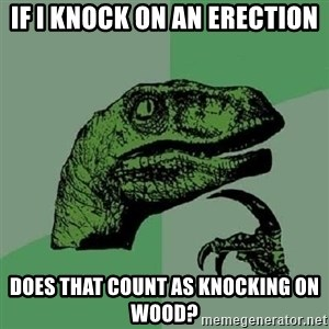 Philosoraptor - IF I knock on an erection Does that count as Knocking on wood?