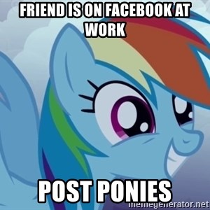 rainbow dash excited - Friend is on facebook at work post ponies