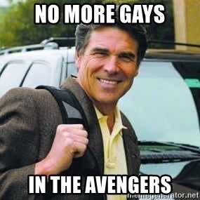 Rick Perry - no more gays in the avengers