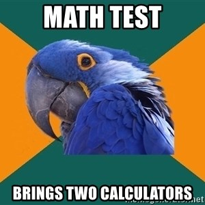 Paranoid Parrot - math test brings two calculators