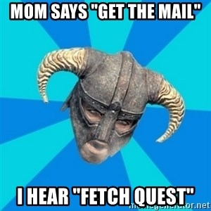 "skyrim stan - Mom says ""get the mail"" I hear ""Fetch Quest"""