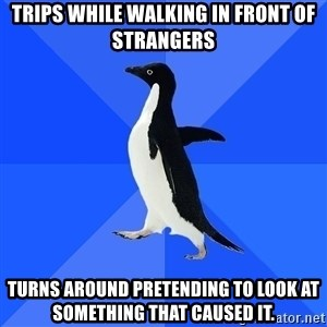 Socially Awkward Penguin - Trips while walking in front of strangers turns around pretending to look at something that caused it.
