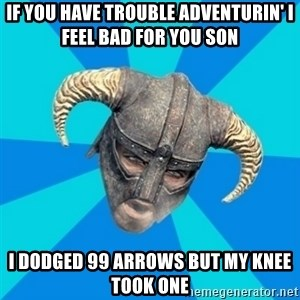 skyrim stan - If you have trouble adventurin' i feel bad for you son i dodged 99 arrows but my knee took one