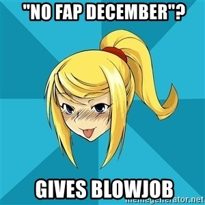 "Horny Samus -  ""No Fap december""?  gives blowjob"