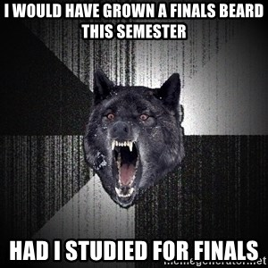 Insanity Wolf - i would have grown a finals beard this semester had i studied for finals
