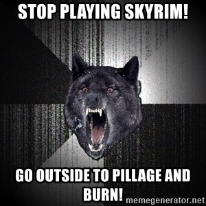 Insanity Wolf - Stop playing skyrim! go outside to pillage and burn!