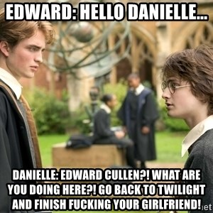 Harry Potter  - Edward: Hello Danielle... Danielle: EDWARD CULLEN?! WHAT ARE YOU DOING HERE?! GO BACK TO TWILIGHT AND FINISH FUCKING YOUR GIRLFRIEND!