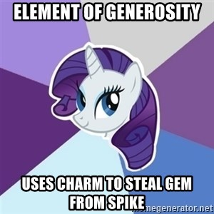 Rarity - Element of generosity uses charm to steal gem from spike