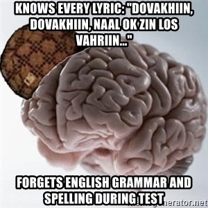 "Scumbag Brain - Knows every lyric: ""Dovakhiin, Dovakhiin, naal ok zin los vahriin..."" Forgets english grammar and spelling during test"