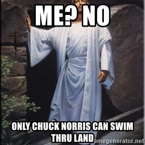 Hell Yeah Jesus - me? no only chuck norris can swim thru land