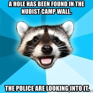 Lame Pun Coon - A hole has been found in the nudist camp wall.  THE POLICE ARE LOOKING INTO IT.