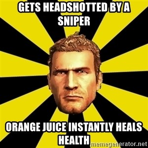 Chuck Greene - Gets headshotted by a sniper Orange juice instantly heals health
