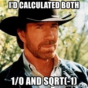 Chuck Norris Pwns - I'd calculated both 1/0 and sqrt(-1)