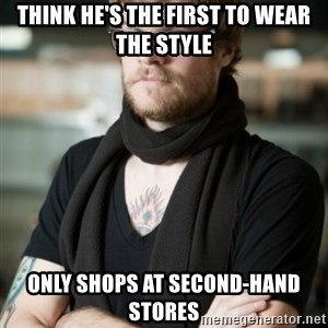hipster Barista - think he's the first to wear the style only shops at second-hand stores