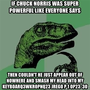 Philosoraptor - If chuck norris was super powerful like everyone says then couldn't he just appear out of nowhere and smash my head into my keyboarq3wkropnq23 jrego p 1 op23  3o