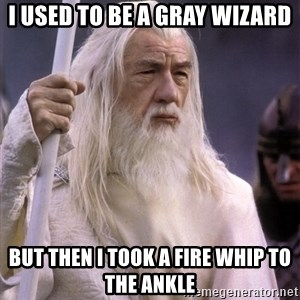 White Gandalf - i used to be a gray wizard but then i took a fire whip to the ankle