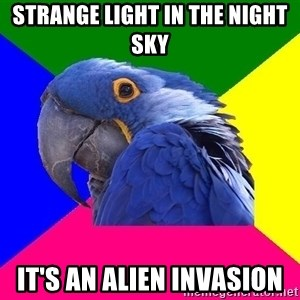 Paranoid Parrot - STRANGE LIGHT IN THE NIGHT SKY IT'S AN ALIEN INVASION