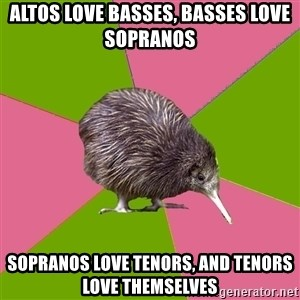 Choir Kiwi - Altos love basses, basses love sopranos Sopranos love tenors, and tenors love themselves
