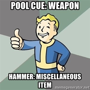 Fallout Boy - pool cue: weapon hammer: MISCELLANEOUS  item