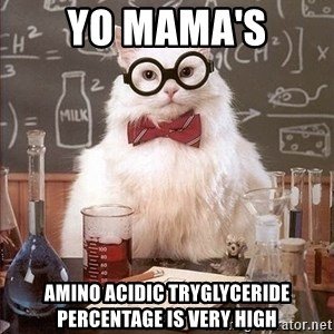 Chemistry Cat - yo mama's amino acidic tryglyceride percentage is very high