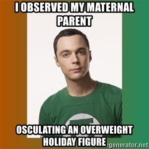 sheldon cooper  - I observed my maternal parent osculating an overweight holiday figure