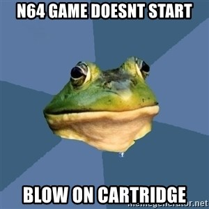 FACEBOOK FROG - N64 game doesnt start blow on cartridge