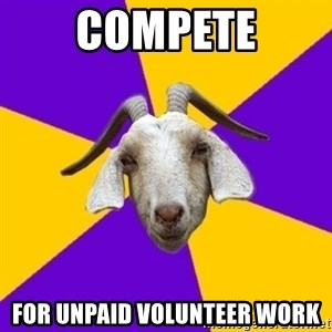 Premed Goat - compete for unpaid volunteer work