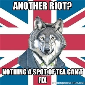 Sir Courage Wolf Esquire - another riot? nothing a spot of tea can't fix