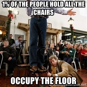 Romney Chairholder Guy - 1% of the people hold all the chairs occupy the floor
