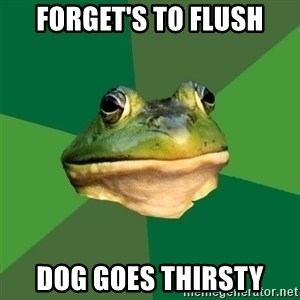 Foul Bachelor Frog - forget's to flush dog goes thirsty