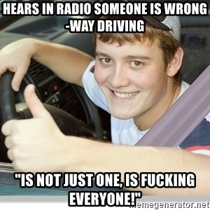 """new driver - Hears in radio someone is wrong-way driving """"is not just one, is fucking everyone!"""""""
