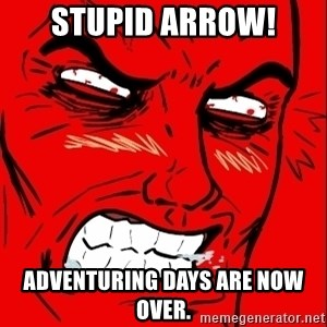Rage Face - Stupid ARrow! Adventuring days are Now over.