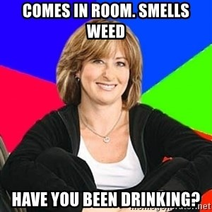 Sheltering Suburban Mom - comes in room. smells weed have you been drinking?