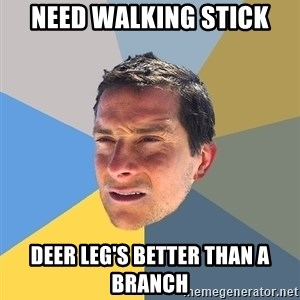 Bear Grylls - need walking stick Deer Leg's better than a branch