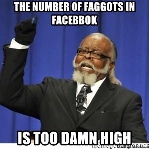 Too high - the number of faggots in facebbok is too damn high