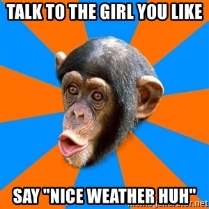 "Socially Primitive Chimpanzee - TALK TO THE GIRL YOU LIKE Say ""NICE WEATHER HUH"""