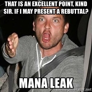 Raging Macguire - THAT IS AN EXCELLENT POINT, KIND SIR. IF I MAY PRESENT A REBUTTAL? Mana LEak
